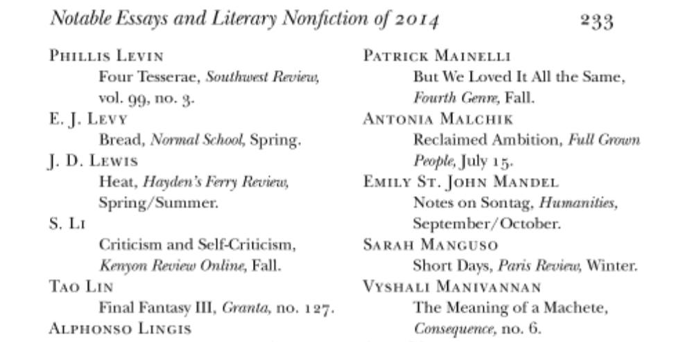 Author's name in the notable mentions of literary nonfiction of 2014.