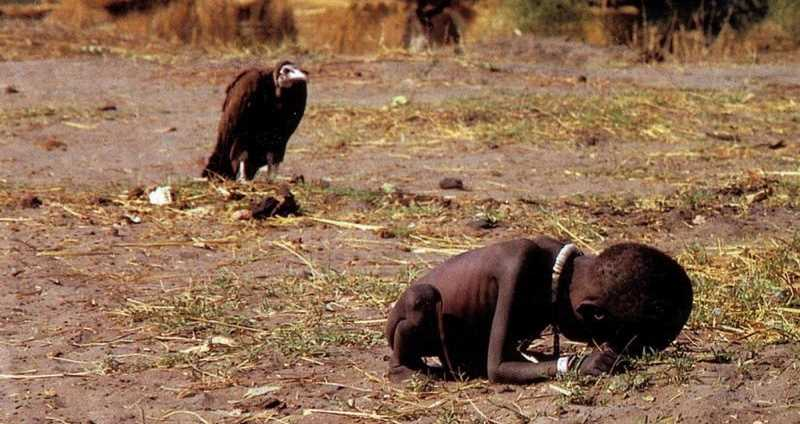 A vulture awaits the death of a starving Sudanese girl.